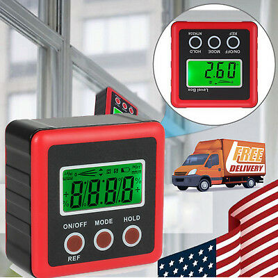 4*90° Electronic Digital LCD Protractor Level Box Gauge Magnetic Angle Finder