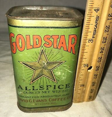 Antique Gold Star Allspice Spice Tin Vintage David G Evans Coffee Can St Louis