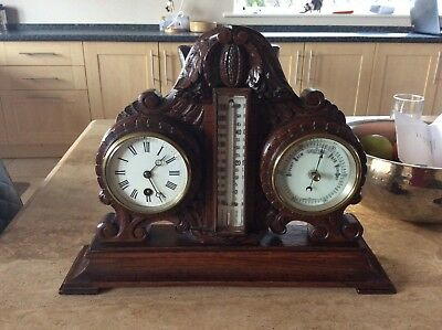 Superb Victorian Oak Desk Clock Barometer Thermometer