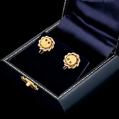Antique Vintage Nouveau 14k Yellow Rose Gold Chased Floral Ruby & Paste Earrings