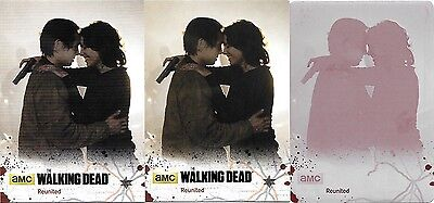 "The Walking Dead Season 4 Pt 2 Glenn & Maggie ""reunited"" Lot! 1/1 Plate + Black"