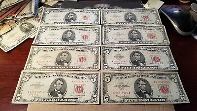 Lot Of 8 $5 1963 Red Seal Legal Tender Notes No Problem Circulated Notes