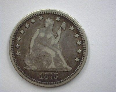 1875 Seated Liberty Silver 25 Cents  Very Fine