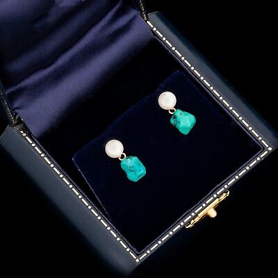 Antique Vintage Art Deco Retro 14k Gold Chinese Turquoise Akoya Pearl Earrings