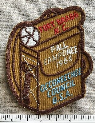 Vintage 1964 OCCONEECHEE COUNCIL Boy Scout PATCH Fort Bragg NC Backpack BSA Camp