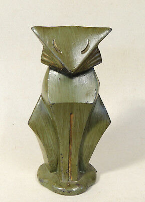 Rare Antique vtg Signed HUBLEY Geometric Moderne CAT Doorstop Art Deco Cast Iron