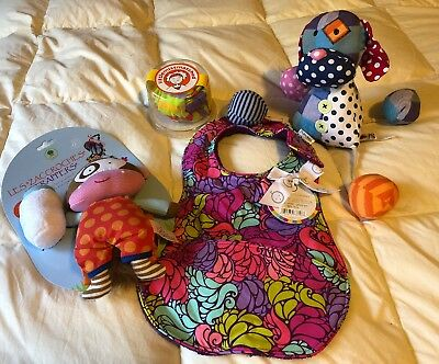 Lot of 4: New Baby Bib, GANZ Stringees Dog, Mismatched One Piece, Strappers Toy