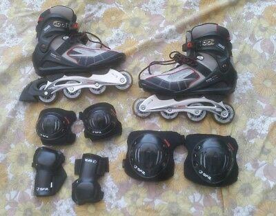 Sfr Brooklyn Special Edt Inline Skates & Pads Size 12Uk Adults/size 46 Eu/used