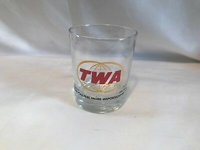 """Vintage TWA Airlines Drink Glass  """"Somehow you feel more important on TWA"""""""