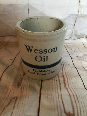 Vintage Wesson Oil Stoneware Advertising Beater Jar Utensil Crock Blue (A) (A023