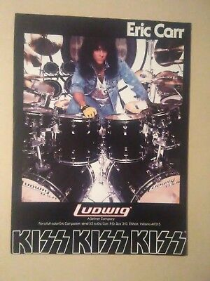 Vintage Ludwig Drums Full Page Magazine Ad Eric Carr of Kiss 1989 8 x 11