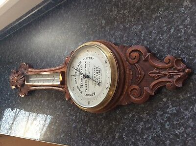 "Superb RARE  Vintage ""HARRY HALL"" Carved Oak Banjo Barometer Thermometer"