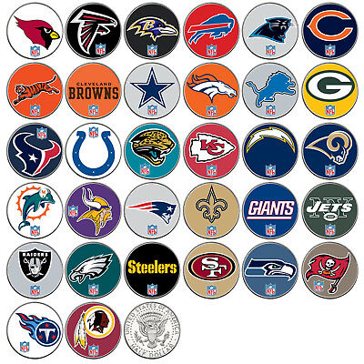 NFL TEAM LOGO JFK Half Dollar USA Football Coins OFFICIALLY LICENSED - 32 TEAMS