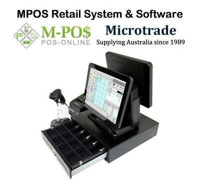 "Dual 15"" Point of Sale System, MPOS Retail POS Software Printer Cash Drawer etc."