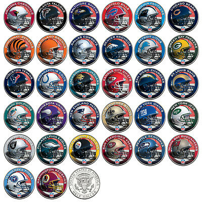 NFL HELMET LOGOS JFK Half Dollar US Football Coins OFFICIALLY LICENSED 32 TEAMS