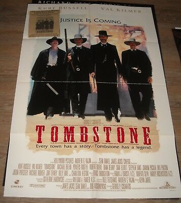 1993 Tombstone 1 Sheet Movie Poster Kurt Russell Val Kilmer Western Double Sided