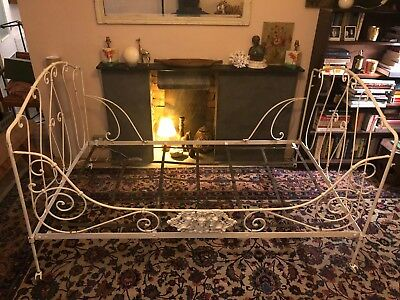 Antique French Campaign Bed or Day Bed. Original paint. Folds down