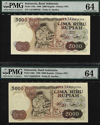 TT PK 120a 1980 INDONESIA BANK INDONESIA 5000 RUPIAH PMG 64 SET OF TWO NOTES!