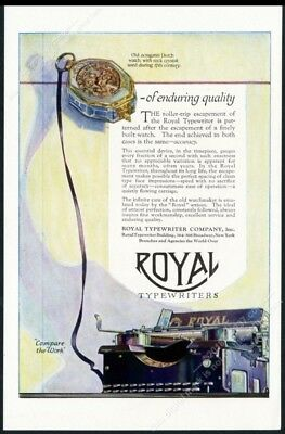 1920 Royal typewriter and 17th century Dutch watch art vintage print ad