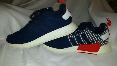 9be043654 Adidas NMD R2 PK Primeknit Collegiate Navy White Mens Size 11.5 BB2952