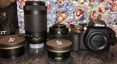 Nikon D3400 24.2MP Digital SLR Camera Bundle w/ 18-55mm and 70-300mm Lens