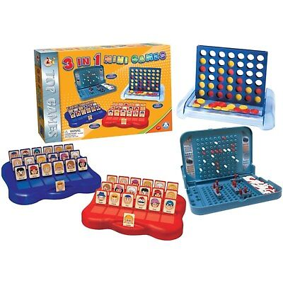 Travel Size - Guess Who - Connect 4 - Battleships - 3 in 1 Mini Family Fun Games