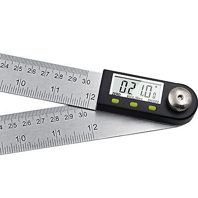 New 12'' Digital Angle Finder Goniometer Stainless Steel Protractor ST0638