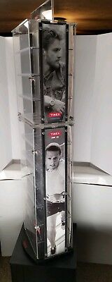 Large Upright Timex Watch Spinning Store Display Case Fixture Lockable W/ Key