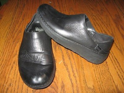 bc3c5dbdb972 FitFlop Micro Wobble Board Black LEATHER Mules Slip On Shoes WOMENS SIZE 6  EU 37