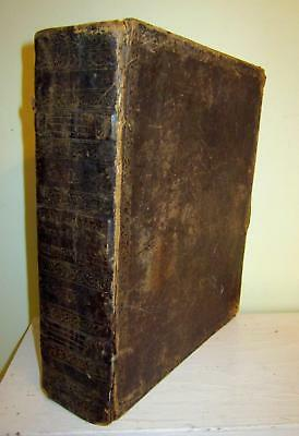 Early American Bible Collins Edition Old Leather John Brown Antique+Rare 1827 LG