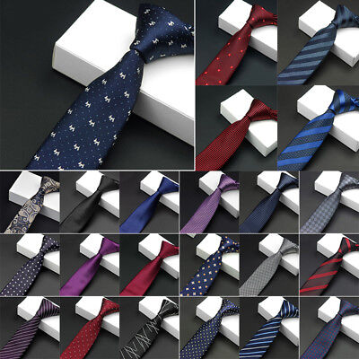 Men's Necktie Jacquard Slim Skinny Woven Narrow Polyester Tie Party Wedding Hot