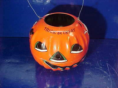 Orig 1950s HALLOWEEN Tin Litho JACK O LANTERN Candy CONTAINER US METAL TOY Co