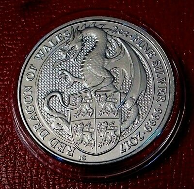 2017 Great Britain 2 oz. Silver Queen's Beasts Red Dragon of Wales in Capsule