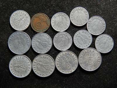Lot OF 14  WW2 German, Reich, WAR Coins With SWASTIKA ,   WW11