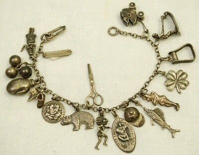 Antique Vintage Sterling Silver 17 Charm Bracelet - Knife, Buggy, Scissors...