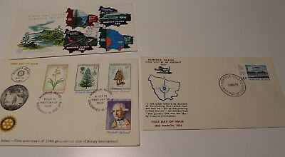 1974 NORFOLK ISL FDC COLL x 3 FIRST AIRCRAFT, ROTARY INTERNATIONAL, BALL BAY