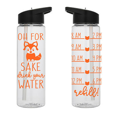 Water Tracker – Oh For Foxs Sake Drink Your Water Water Bottle 24 Oz