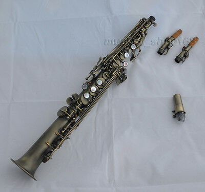 Top new antique soprano saxophone high F# Sax black shell key with case