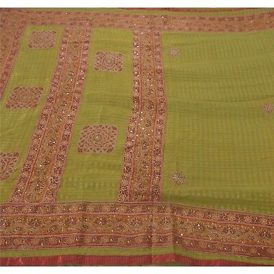 Tcw  Vintage Saree Blend Georgette Hand Beaded Woven Fabric Cultural Sari