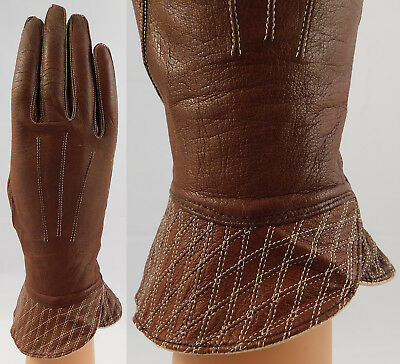 Vintage Alexette Brazilian Womens Brown Leather Gauntlet Cuff Driving Gloves