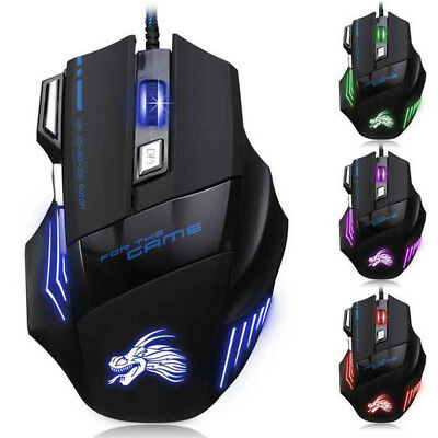 7 Buttons Led Laser Usb Wired Optical Game Gaming Mouse Pc Adjustable 5000 Dpi
