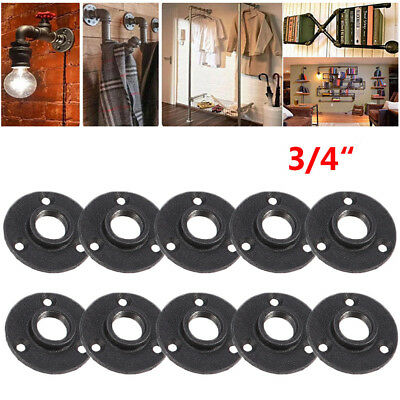 "10Pcs 3/4"" Malleable Threaded Floor Flange Iron Pipe Fittings Wall Mount Black"