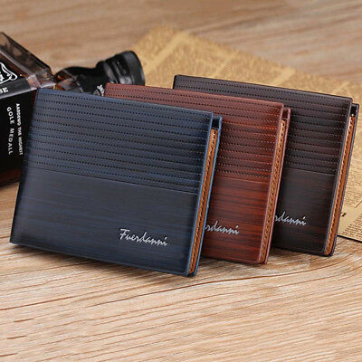 NEW Men's Leather Bifold Wallet ID Credit Card Holder Mini Purse Money Clip