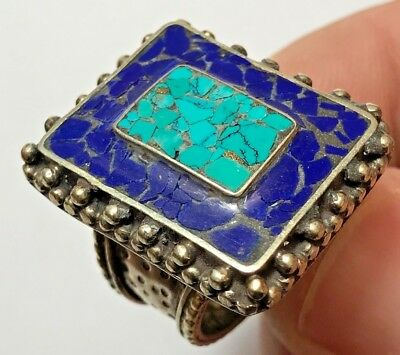 MEDIEVAL SILVER RING  (rare different square pattern)15.6gr 28mm (20mm inner)
