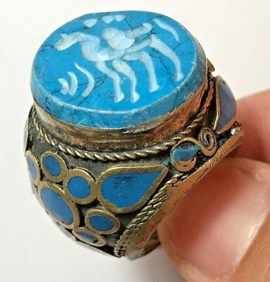 MEDIEVAL SILVER  RING WITH ANIMAL SEAL LIGHT BLUE RARE STONE 27.2gr 30mm