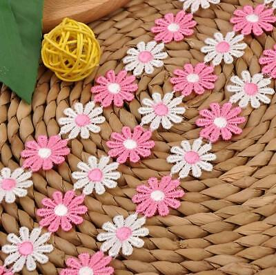 5 Yards Pink White Flower Embroidered lace Trim clothing Appliques Sewing 2.5cm