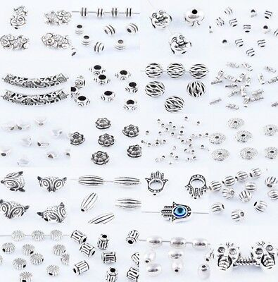 50x Tibetan Silver Metal Charms Loose Spacer Beads Wholesale Jewelry Findings Nb