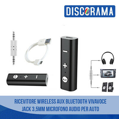 RICEVITORE BLUETOOTH AUX WIRELESS VIVAVOCE JACK 3,5mm MICROFONO AUDIO PER AUTO