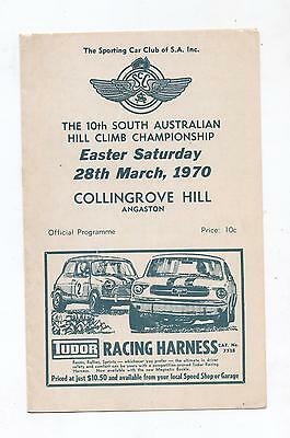 1970 Collingrove Hill Climb Programme Production Touring Racing Sports Program
