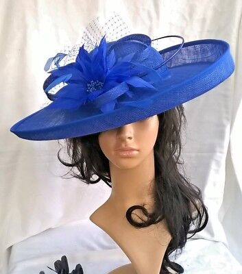 STUNNING ROYAL BLUE SINAMAY   FEATHER BRIMMED HAT.Wedding.races ... f53a3fcdac1